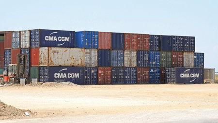 Thessaloniki, Greece - July 02, 2011:  Shipping Cargo Containers at Depot Near Thessaloniki, Greece.