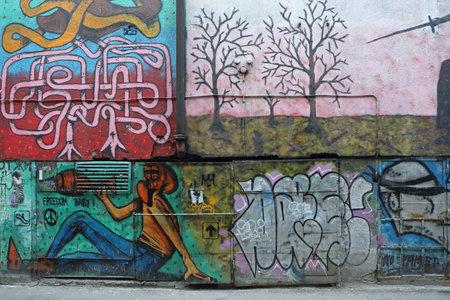Belgrade, Serbia - February 12, 2015: Graffiti Street Art Wall in Belgrade, Serbia.