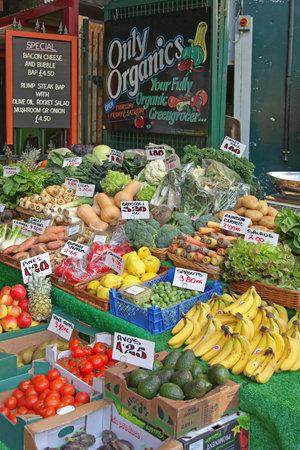 London, United Kingdom - November 18, 2011: Only Organics Fruits and Vegetables at Borough Market in London, UK.
