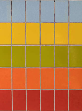 Colourful Tiles in Rows Building Wall Decor Stock Photo