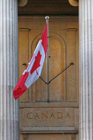 Canada National Flag and Letters at Building Stock Photo