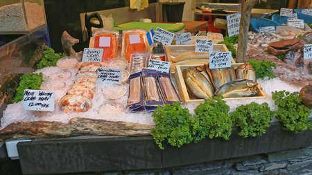 Seafood at Fish Market Stall Borough Market London