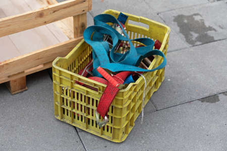 Tie Down Ratchet Straps Fasteners for Cargo Equipment in Cart Stock Photo