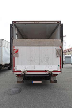 Loading Lift Ramp at Cargo Truck Transport
