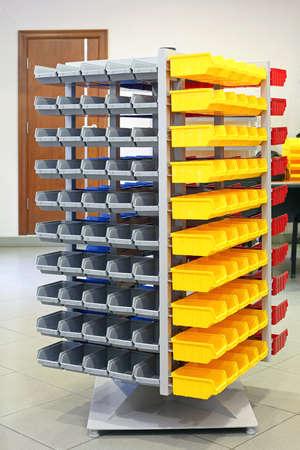 Storage Organizer Tower With Plastic Bins and Trays