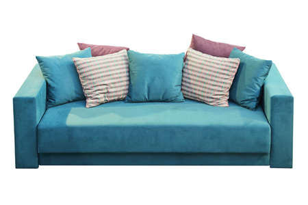 Blue Velvet Sofa With Many Various Pillows