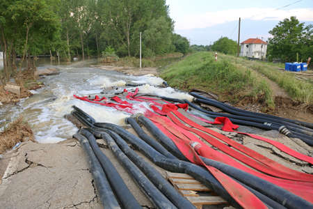 Fire Hoses and Pipes For Pumping Out Floods Water