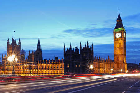 London Landmark Big Ben and Houses of Parliament With Light Trails Stock fotó