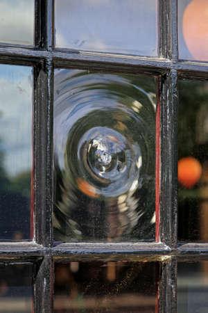 Original Crown Glass Window With Bullseye Stock fotó
