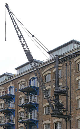 Vintage Crane Wall Mounted at Old Warehouse in London