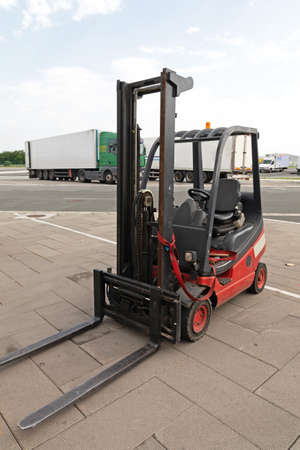 Gas Powered Red Forklift Cargo Truck Outside Stock Photo