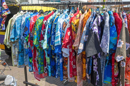 Hawaiian Shirts Hanging at Cloth Rail Flea Market