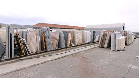 Marble Stones and Granite Slab Material in Warehouse Yard