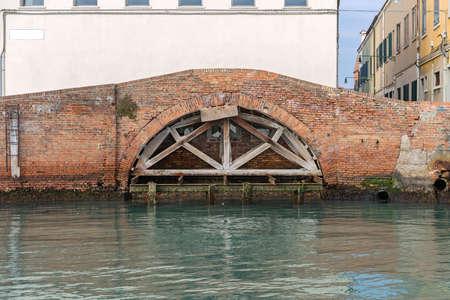 Brick Arch Bridge Brace Support in Murano Venice Stock Photo