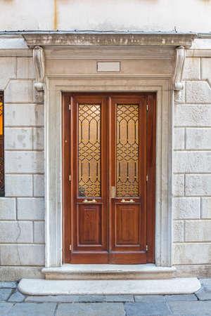 Double Door at Stone Building in Venice Italy