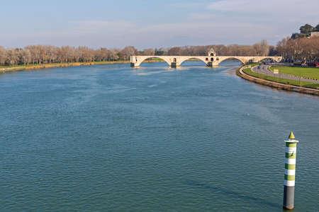 Ruins of Pont d Avignon Bridge Over River Rhone