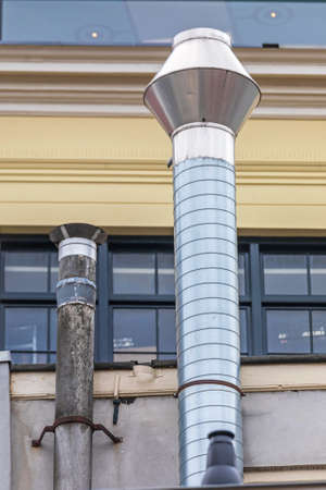 Chimney Pipe Exhaust Vent at Restaurant Exterior
