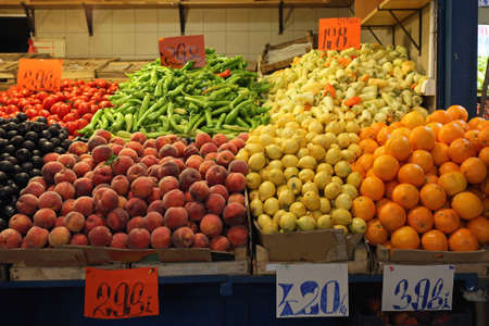 Fruits and Vegetables Farmers Market Stall in Budapest Food Hall