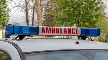 Ambulance Sign With Blue Lights Bar and Siren Imagens