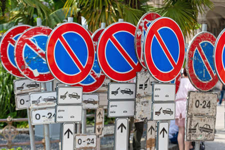 Many Temporary No Parking Traffic Signs at Street Stok Fotoğraf