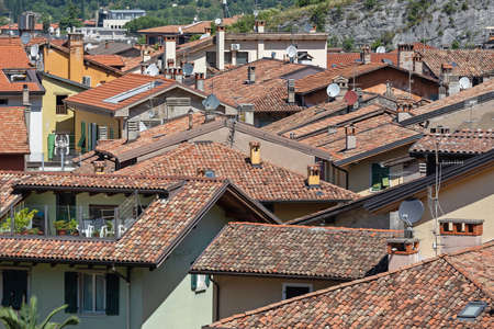 Traditional Roofs at Houses in Nago Torbole Italy Archivio Fotografico