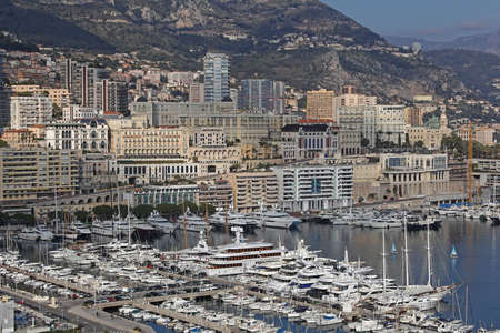Monte Carlo, Monaco - January 18, 2012: Luxurious Yachts in Hercules Harbour and La Condamine in Monte Carlo, Monaco.