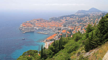 Aerial View Old Town Dubrovnik Cityscape in Croatia
