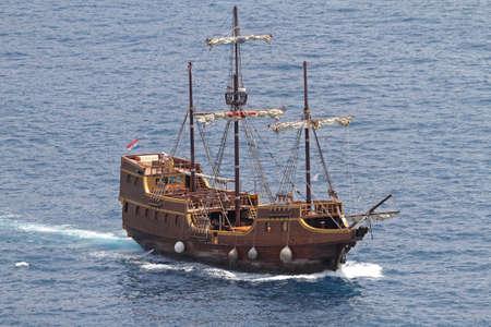 Medieval Pirate Ship Replica in Adriatic Sea