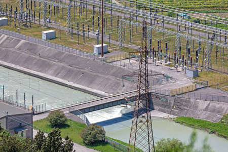 Electric Power Energy Transformer Station and Canal Water