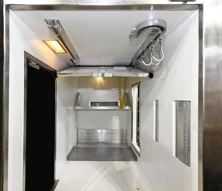 Commercial Refrigerated Meat Freezer Truck Interior Reklamní fotografie