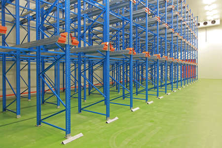 Refrigerated Cold Warehouse Storage With Blue Shelves