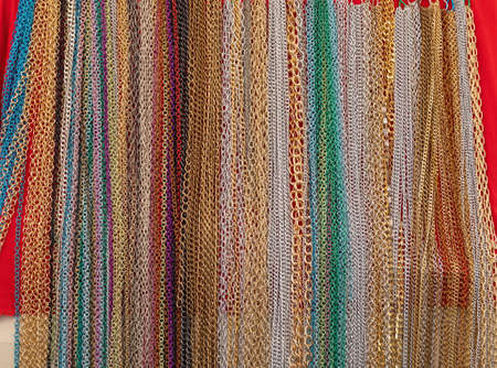 Many Various Colourful Bijoux Chains Jewellery Stock Photo