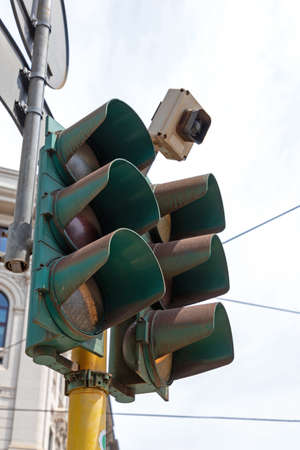 Smart Traffic Lights With Motion Sensor on Top Stock Photo