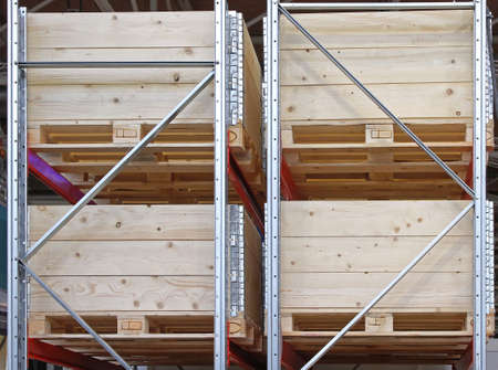 Wooden Shipping Boxes With Pallets at Shelving System Warehouse Stock Photo