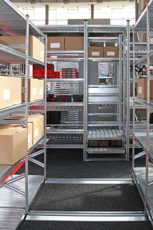Modular Metal Shelving System in Storage Warehouse