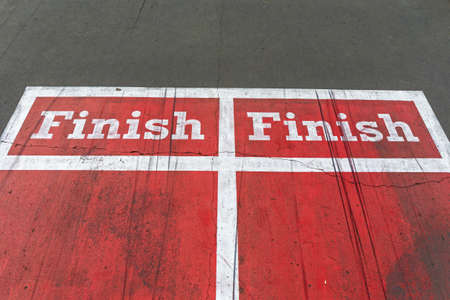 Double Finish Line at Red Running Sports Track