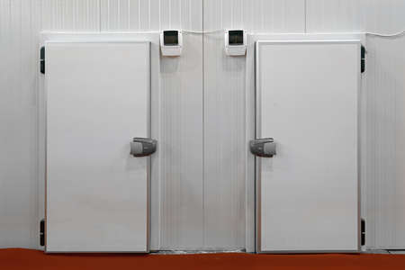 Two Insulated Doors at Commercial Refridgerated Storage Fridge Reefer