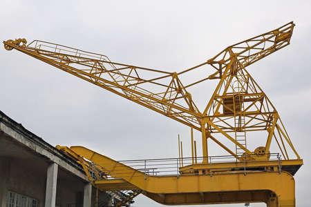 Big Yellow Crane at Port in Belgrade Serbia