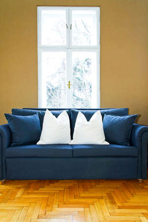 Interior of living room with blue sofa part