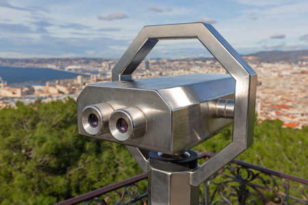Tower Viewer Binoculars in Marseille France Panorama Banque d'images