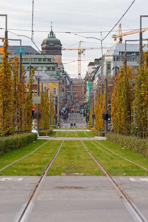 Tram Line Rails in Oslo City Norway