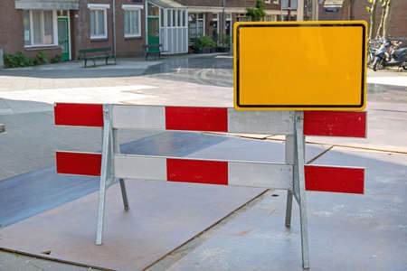 Road Works Construction Barrier at Street in Amsterdam 写真素材