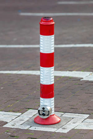 Parking Pole With Red Light and Lock