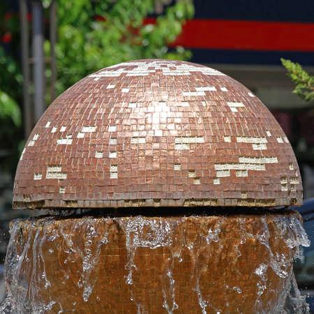 Golden Globe Water Fountain in Thessaloniki