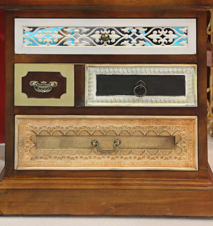 Vintage Style Cabinet With Many Colorful Drawers