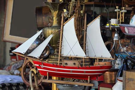 Old Wooden Sailing Ship Model at Flea Market Zdjęcie Seryjne