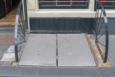 Closed Metal Cargo Door at Pub Cellar