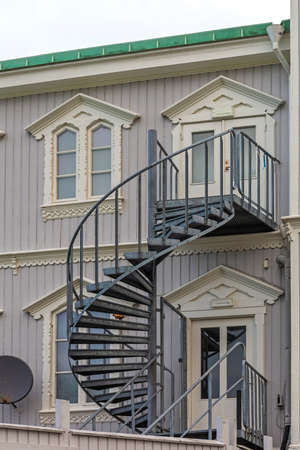 Spiral External Stairs at House in Sweden Stock fotó