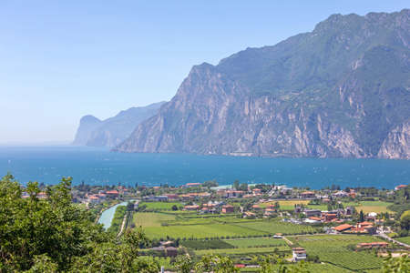 Aerial View of Nago Torbole at Lake Garda in Italy Archivio Fotografico
