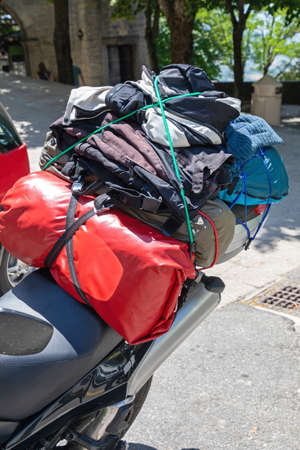 Loaded Motorcycle With Luggage and Gear Equipment